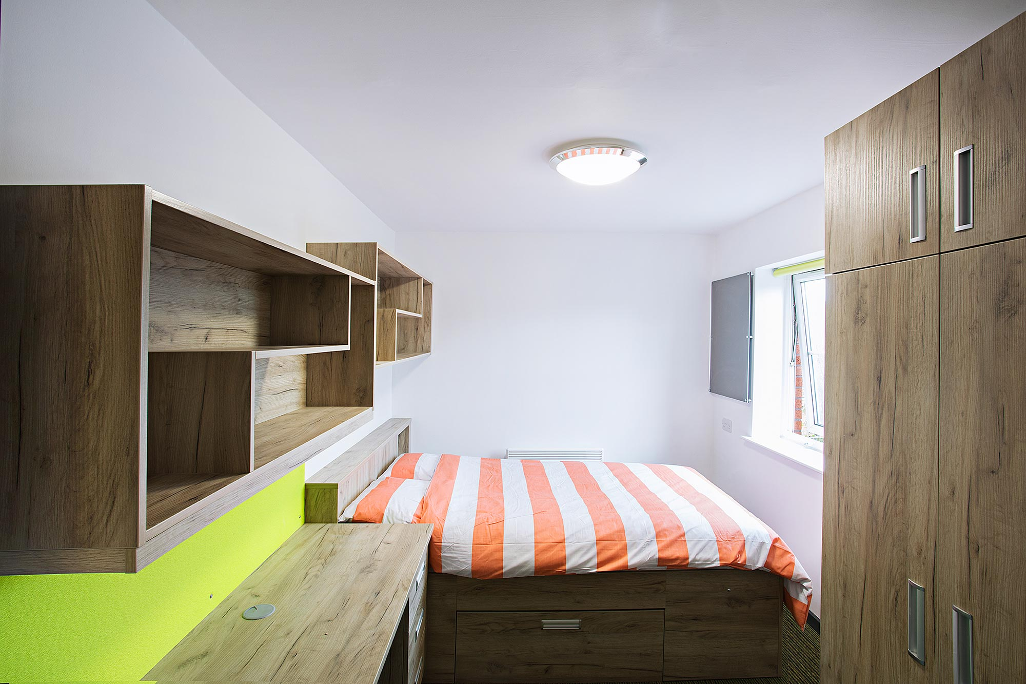 Derby University Student accommodation refurbishment by Troy group - bedroom shot