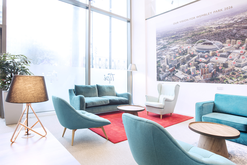 Interior shot of the refitted Tipi Marketing Suite - seating area | TROY group UK
