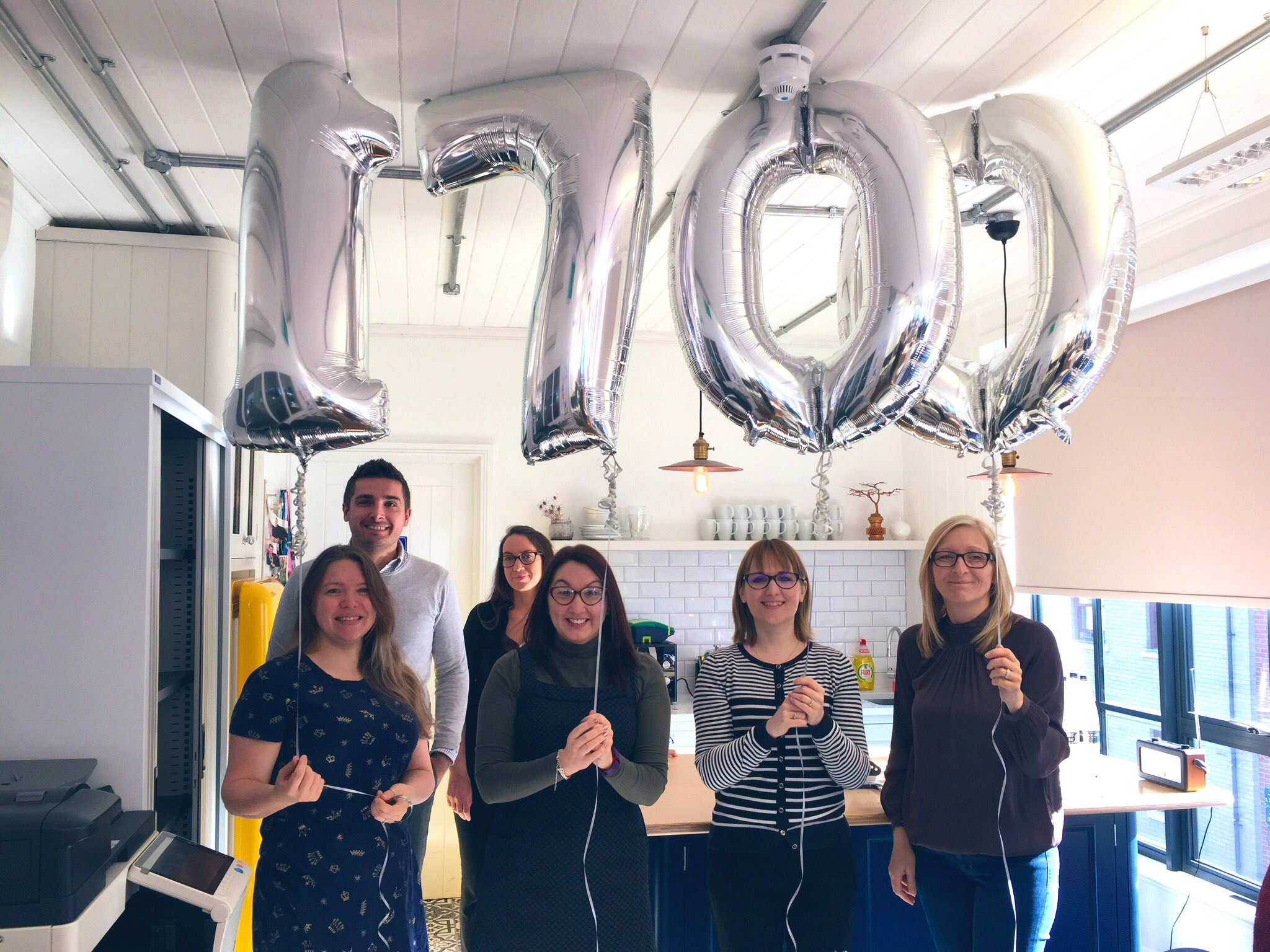 Charity photo: TROY pose with foil balloons '1700'